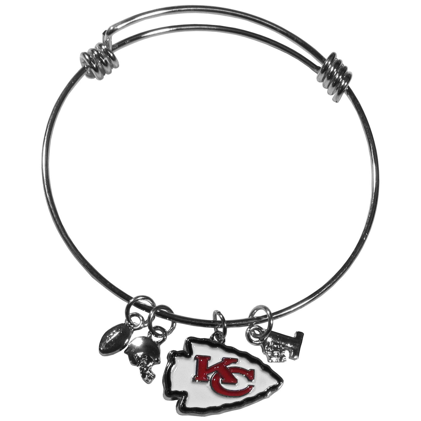 Kansas City Chiefs Charm Bangle Bracelet - Adjustable wire bracelets are all the rage and this Kansas City Chiefs bracelet matches the popular trend with your beloved team. The bracelet features 4 charms in total, each feature exceptional detail and the team charm has enameled team colors.