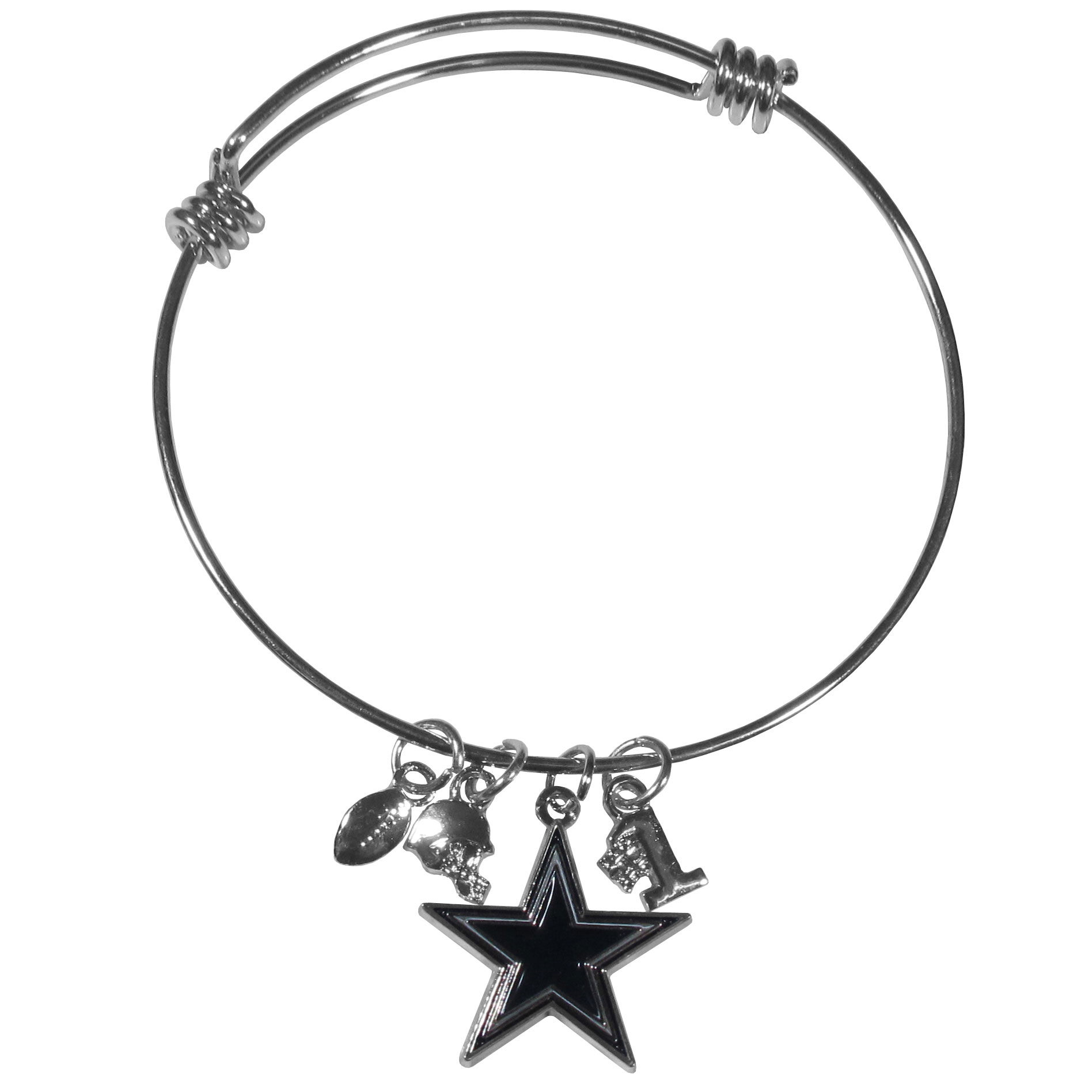 Dallas Cowboys Charm Bangle Bracelet - Adjustable wire bracelets are all the rage and this Dallas Cowboys bracelet matches the popular trend with your beloved team. The bracelet features 4 charms in total, each feature exceptional detail and the team charm has enameled team colors.