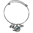 Miami Dolphins Charm Bangle Bracelet - Adjustable wire bracelets are all the rage and this Miami Dolphins bracelet matches the popular trend with your beloved team. The bracelet features 4 charms in total, each feature exceptional detail and the team charm has enameled team colors.