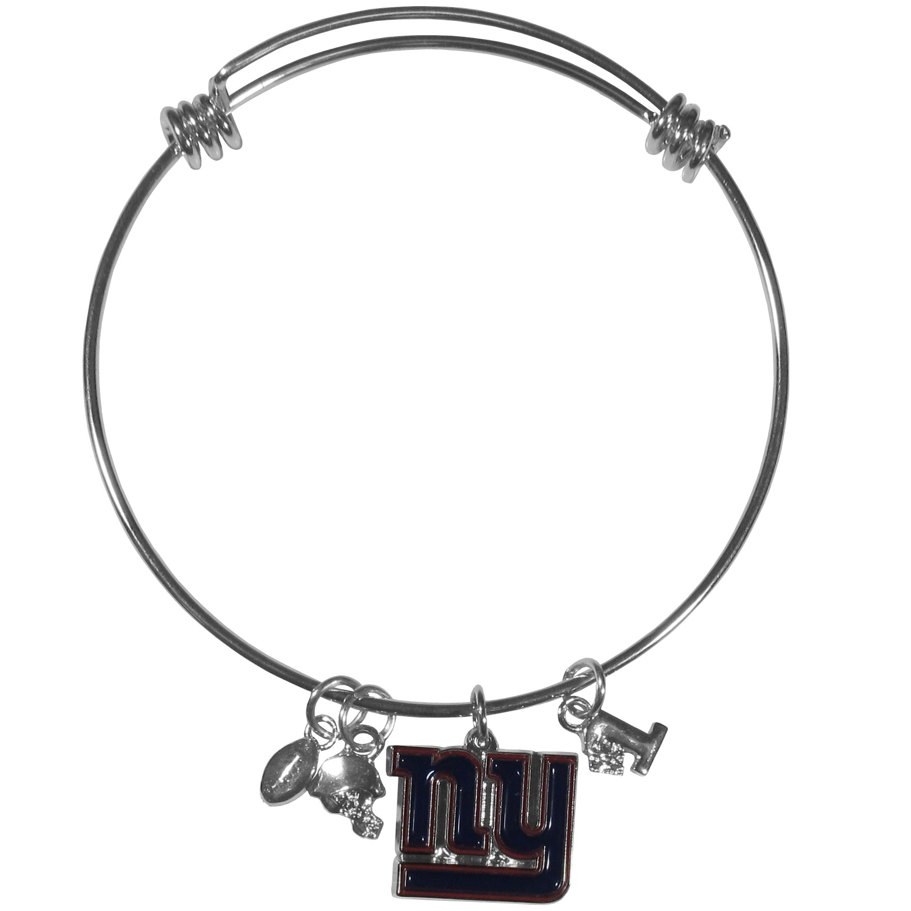 New York Giants Charm Bangle Bracelet - Adjustable wire bracelets are all the rage and this New York Giants bracelet matches the popular trend with your beloved team. The bracelet features 4 charms in total, each feature exceptional detail and the team charm has enameled team colors.