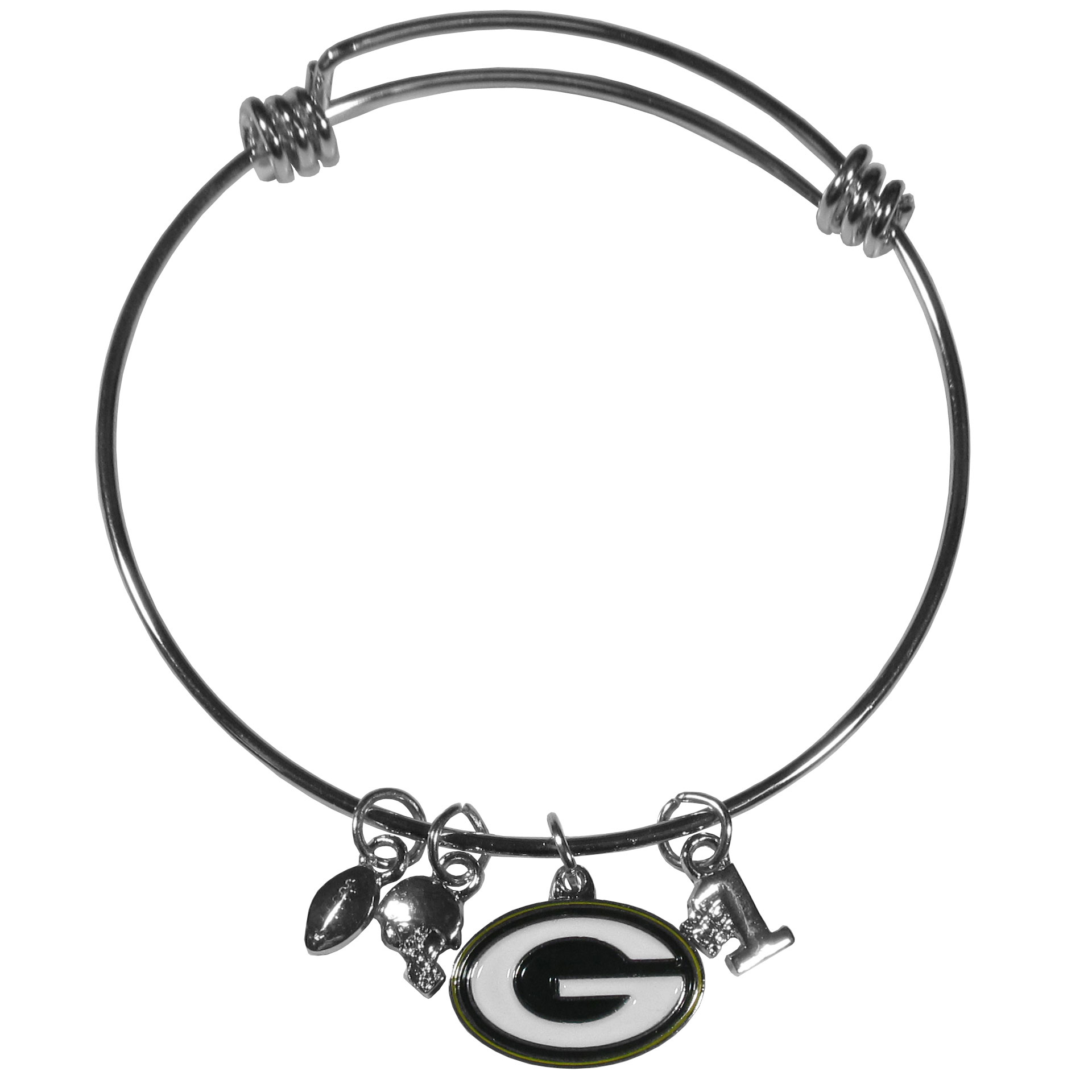 Green Bay Packers Charm Bangle Bracelet - Adjustable wire bracelets are all the rage and this Green Bay Packers bracelet matches the popular trend with your beloved team. The bracelet features 4 charms in total, each feature exceptional detail and the team charm has enameled team colors.