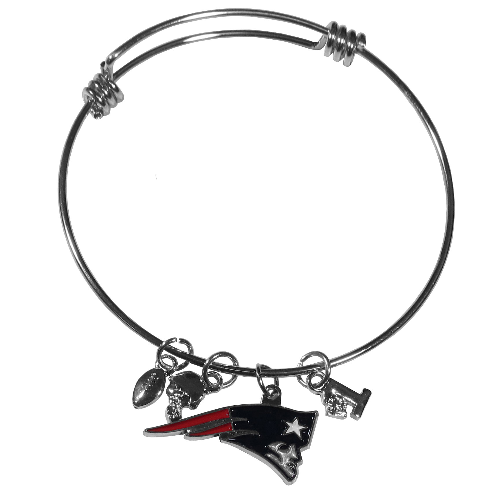 New England Patriots Charm Bangle Bracelet - Adjustable wire bracelets are all the rage and this New England Patriots bracelet matches the popular trend with your beloved team. The bracelet features 4 charms in total, each feature exceptional detail and the team charm has enameled team colors.