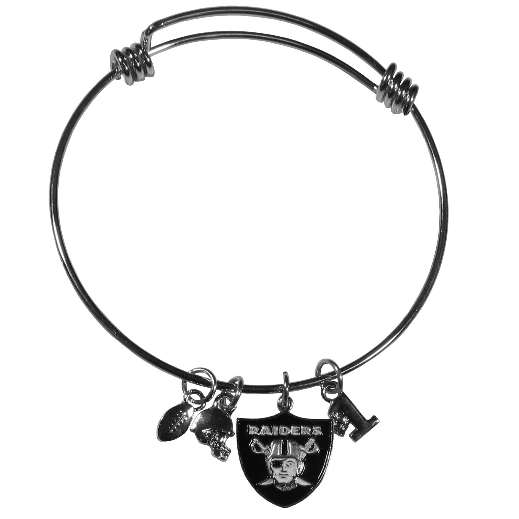 Oakland Raiders Charm Bangle Bracelet - Adjustable wire bracelets are all the rage and this Oakland Raiders bracelet matches the popular trend with your beloved team. The bracelet features 4 charms in total, each feature exceptional detail and the team charm has enameled team colors.