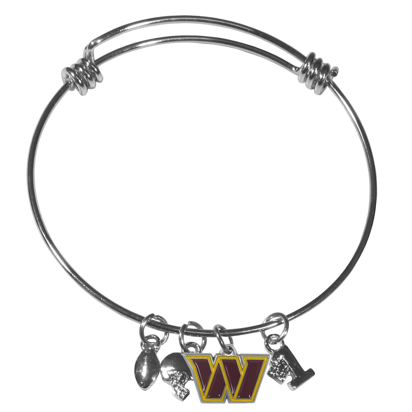 Washington Redskins Charm Bangle Bracelet - Adjustable wire bracelets are all the rage and this Washington Redskins bracelet matches the popular trend with your beloved team. The bracelet features 4 charms in total, each feature exceptional detail and the team charm has enameled team colors.