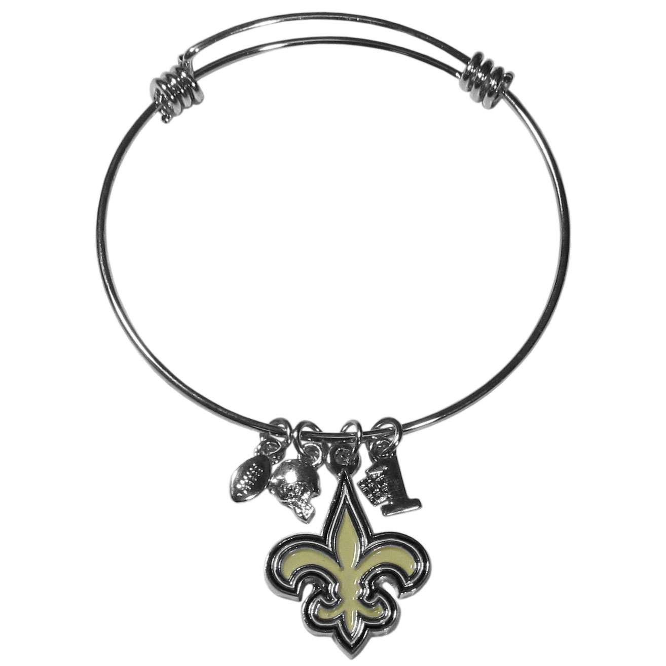 New Orleans Saints Charm Bangle Bracelet - Adjustable wire bracelets are all the rage and this New Orleans Saints bracelet matches the popular trend with your beloved team. The bracelet features 4 charms in total, each feature exceptional detail and the team charm has enameled team colors.