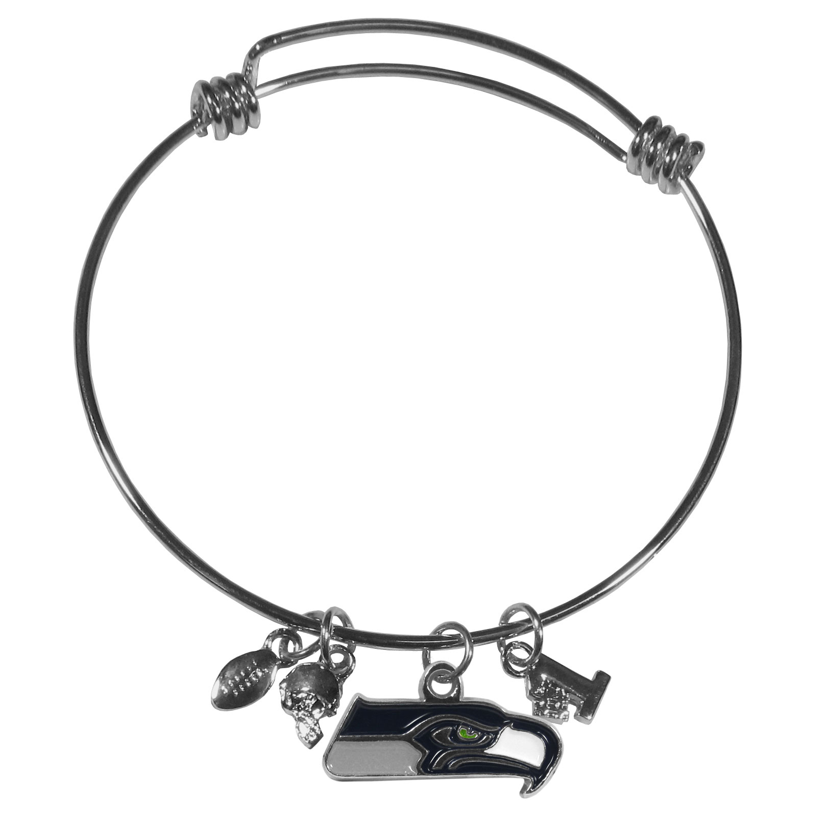 Seattle Seahawks Charm Bangle Bracelet - Adjustable wire bracelets are all the rage and this Seattle Seahawks bracelet matches the popular trend with your beloved team. The bracelet features 4 charms in total, each feature exceptional detail and the team charm has enameled team colors.