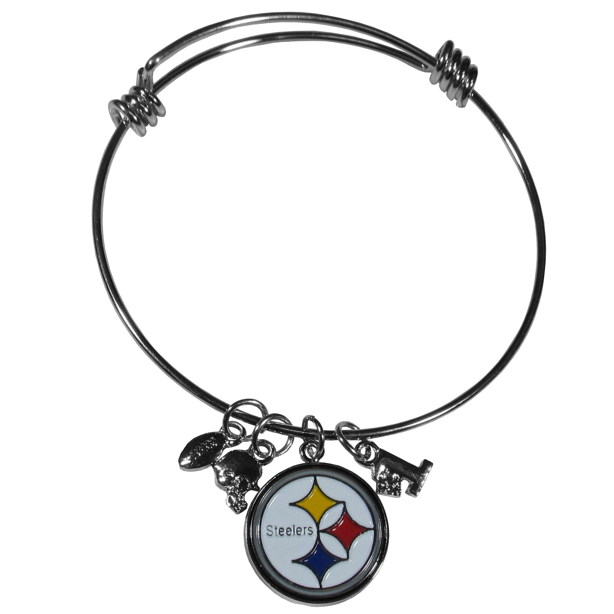 Pittsburgh Steelers Charm Bangle Bracelet - Adjustable wire bracelets are all the rage and this Pittsburgh Steelers bracelet matches the popular trend with your beloved team. The bracelet features 4 charms in total, each feature exceptional detail and the team charm has enameled team colors.