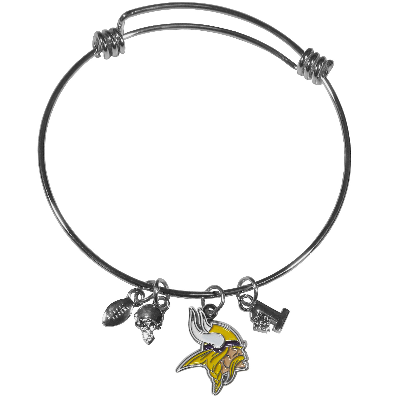 Minnesota Vikings Charm Bangle Bracelet - Adjustable wire bracelets are all the rage and this Minnesota Vikings bracelet matches the popular trend with your beloved team. The bracelet features 4 charms in total, each feature exceptional detail and the team charm has enameled team colors.