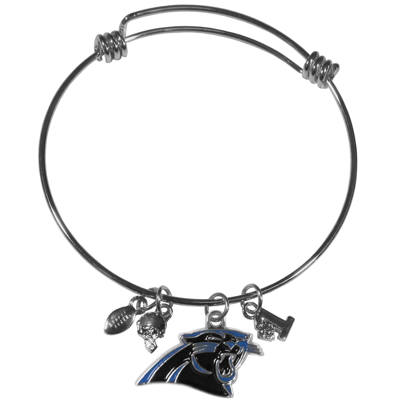 Carolina Panthers Charm Bangle Bracelet - Adjustable wire bracelets are all the rage and this Carolina Panthers bracelet matches the popular trend with your beloved team. The bracelet features 4 charms in total, each feature exceptional detail and the team charm has enameled team colors.