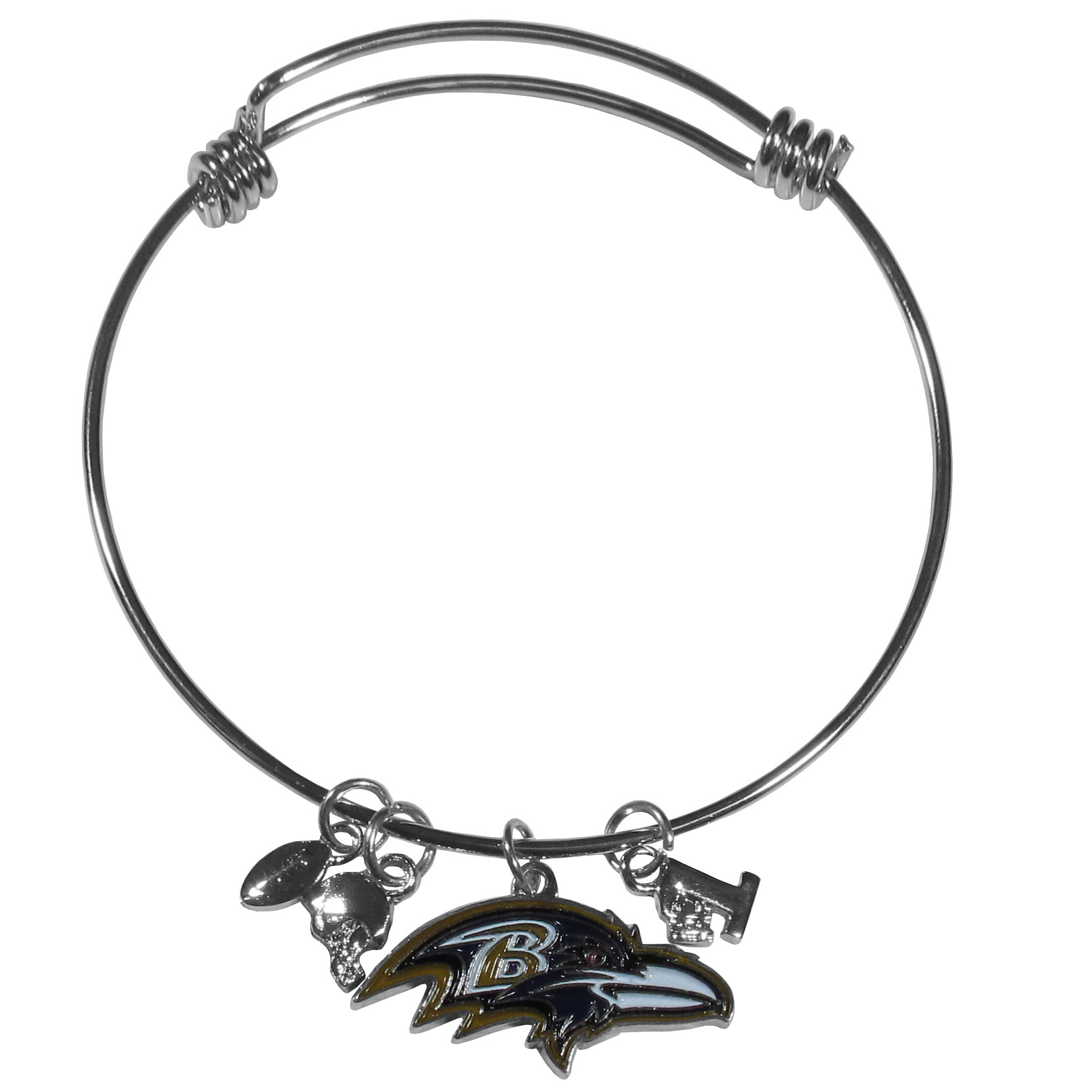 Baltimore Ravens Charm Bangle Bracelet - Adjustable wire bracelets are all the rage and this Baltimore Ravens bracelet matches the popular trend with your beloved team. The bracelet features 4 charms in total, each feature exceptional detail and the team charm has enameled team colors.
