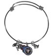 Tennessee Titans Charm Bangle Bracelet - Adjustable wire bracelets are all the rage and this Tennessee Titans bracelet matches the popular trend with your beloved team. The bracelet features 4 charms in total, each feature exceptional detail and the team charm has enameled team colors.