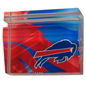 Buffalo Bills Business Cardholder - Our Buffalo Bills crystal business cardholder is a great way to dress up your desk. The heavy duty cardholder weighs over a pound and is cut from water clear glass and features crisp team graphics that reflect off of the beveled edges of the cardholders to create a striking 3D effect from any angle. Officially licensed NFL product Licensee: Siskiyou Buckle .com