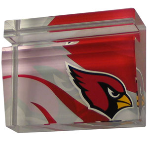 Arizona Cardinals Business Cardholder - Our Arizona Cardinals crystal business cardholder is a great way to dress up your desk. The heavy duty cardholder weighs over a pound and is cut from water clear glass and features crisp team graphics that reflect off of the beveled edges of the cardholders to create a striking 3D effect from any angle. Officially licensed NFL product Licensee: Siskiyou Buckle .com