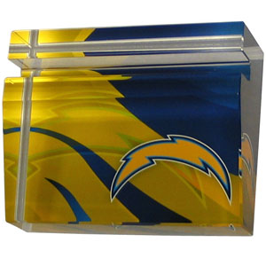 Los Angeles Chargers Business Cardholder - Our Los Angeles Chargers crystal business cardholder is a great way to dress up your desk. The heavy duty cardholder weighs over a pound and is cut from water clear glass and features crisp team graphics that reflect off of the beveled edges of the cardholders to create a striking 3D effect from any angle. Officially licensed NFL product Licensee: Siskiyou Buckle .com