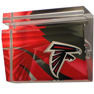 Atlanta Falcons Business Cardholder - Our Atlanta Falcons crystal business cardholder is a great way to dress up your desk. The heavy duty cardholder weighs over a pound and is cut from water clear glass and features crisp team graphics that reflect off of the beveled edges of the cardholders to create a striking 3D effect from any angle. Officially licensed NFL product Licensee: Siskiyou Buckle .com