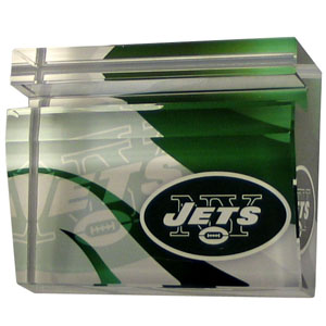 New York Jets Business Cardholder - Our New York Jets crystal business cardholder is a great way to dress up your desk. The heavy duty cardholder weighs over a pound and is cut from water clear glass and features crisp team graphics that reflect off of the beveled edges of the cardholders to create a striking 3D effect from any angle. Officially licensed NFL product Licensee: Siskiyou Buckle Thank you for visiting CrazedOutSports.com