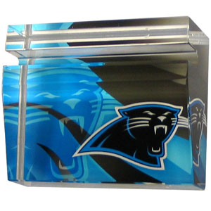 Carolina Panthers Business Cardholder - Our Carolina Panthers crystal business cardholder is a great way to dress up your desk. The heavy duty cardholder weighs over a pound and is cut from water clear glass and features crisp team graphics that reflect off of the beveled edges of the cardholders to create a striking 3D effect from any angle. Officially licensed NFL product Licensee: Siskiyou Buckle .com
