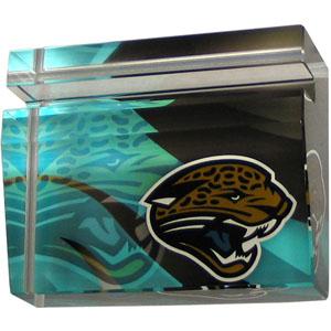 Jacksonville Jaguars Business Cardholder - Our Jacksonville Jaguars crystal business cardholder is a great way to dress up your desk. The heavy duty cardholder weighs over a pound and is cut from water clear glass and features crisp team graphics that reflect off of the beveled edges of the cardholders to create a striking 3D effect from any angle. Officially licensed NFL product Licensee: Siskiyou Buckle Thank you for visiting CrazedOutSports.com