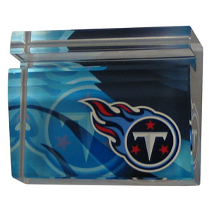 Tennessee Titans Business Cardholder - Our Tennessee Titans crystal business cardholder is a great way to dress up your desk. The heavy duty cardholder weighs over a pound and is cut from water clear glass and features crisp team graphics that reflect off of the beveled edges of the cardholders to create a striking 3D effect from any angle. Officially licensed NFL product Licensee: Siskiyou Buckle .com