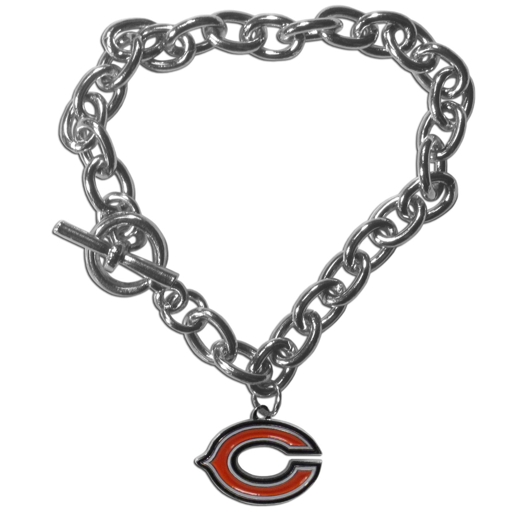 Chicago Bears Charm Chain Bracelet - Our classic single charm bracelet is a great way to show off your team pride! The 7.5 inch large link chain features a high polish Chicago Bears charm and features a toggle clasp which makes it super easy to take on and off.