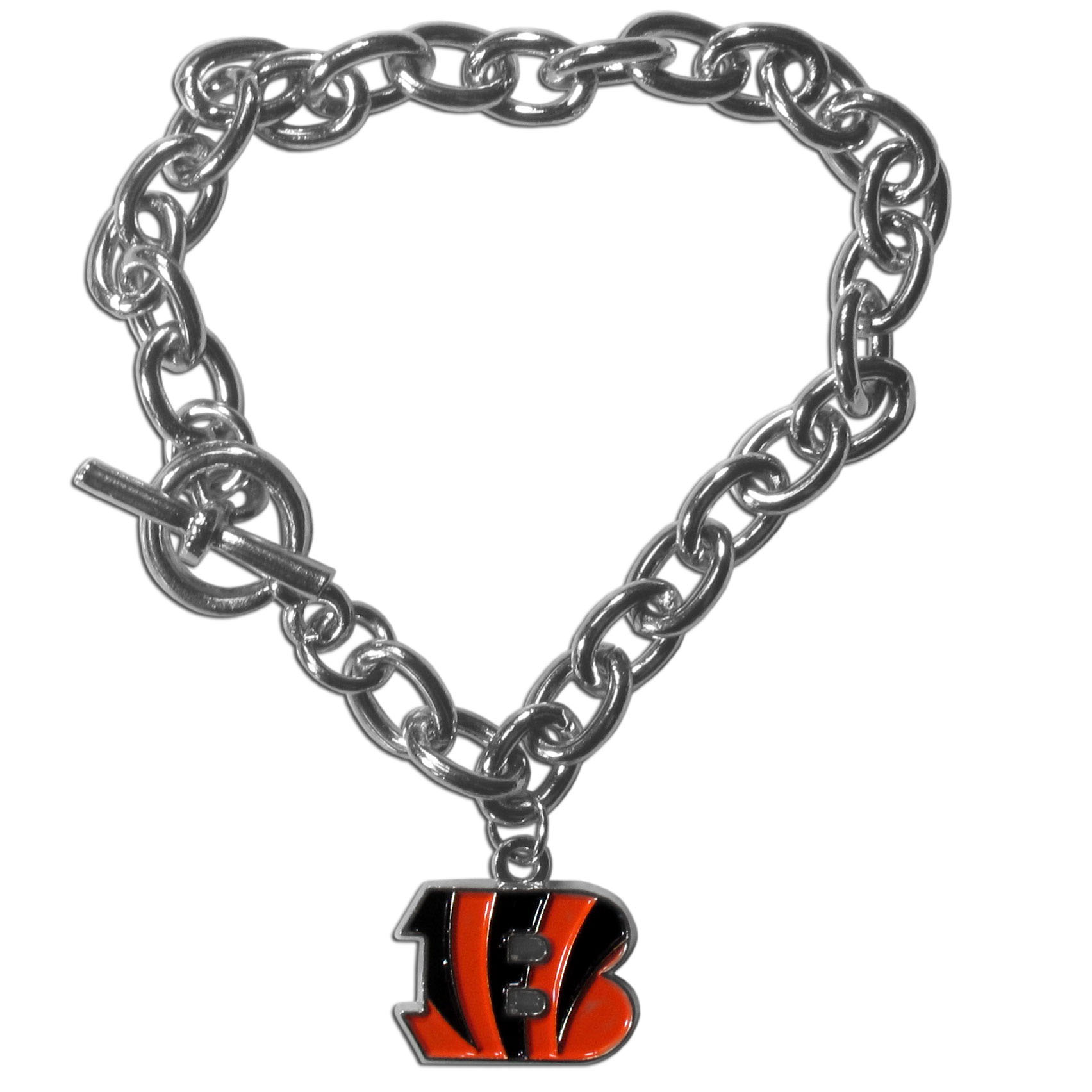 Cincinnati Bengals Charm Chain Bracelet - Our classic single charm bracelet is a great way to show off your team pride! The 7.5 inch large link chain features a high polish Cincinnati Bengals charm and features a toggle clasp which makes it super easy to take on and off.