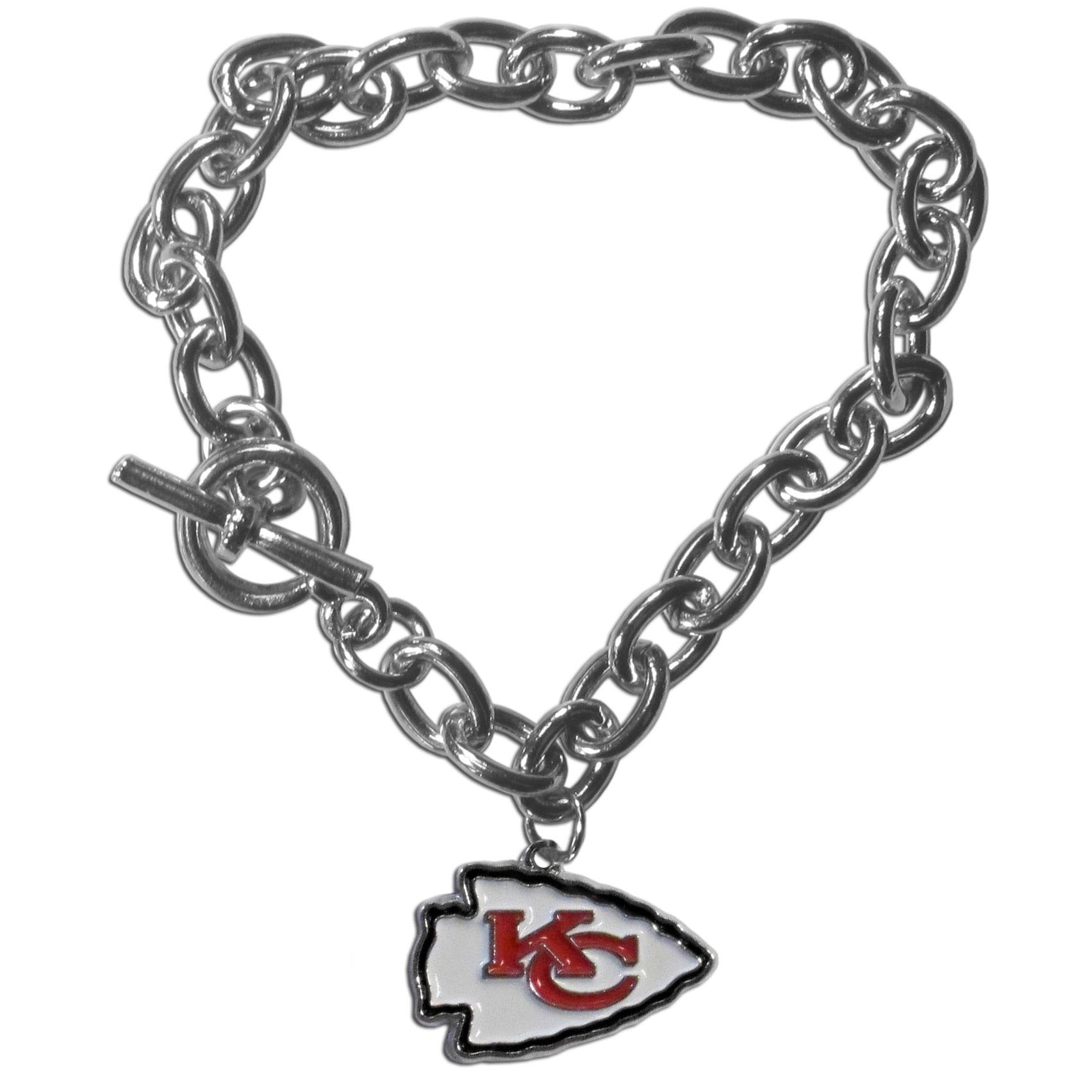 Kansas City Chiefs Charm Chain Bracelet - Our classic single charm bracelet is a great way to show off your team pride! The 7.5 inch large link chain features a high polish Kansas City Chiefs charm and features a toggle clasp which makes it super easy to take on and off.