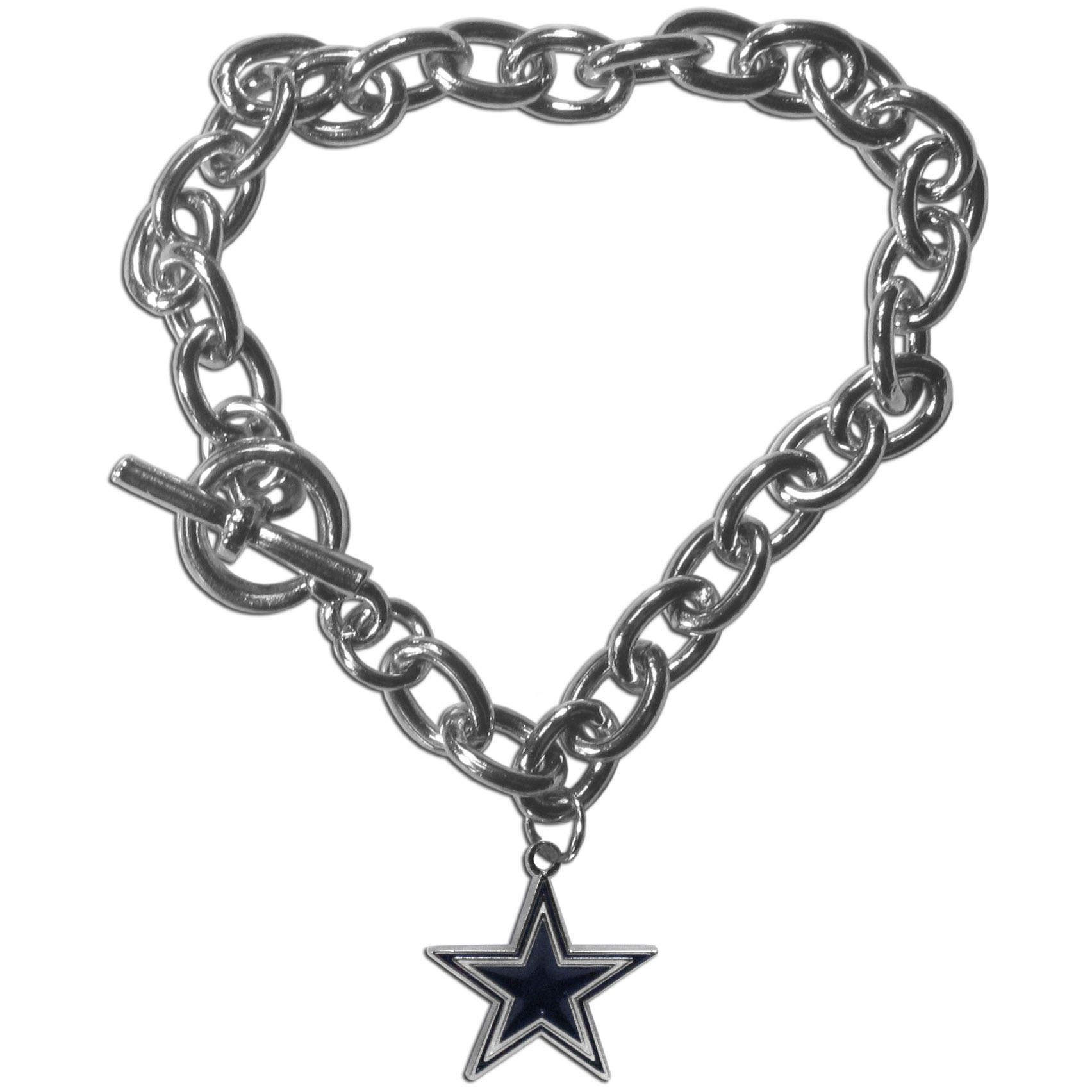 Dallas Cowboys Charm Chain Bracelet - Our classic single charm bracelet is a great way to show off your team pride! The 7.5 inch large link chain features a high polish Dallas Cowboys charm and features a toggle clasp which makes it super easy to take on and off.