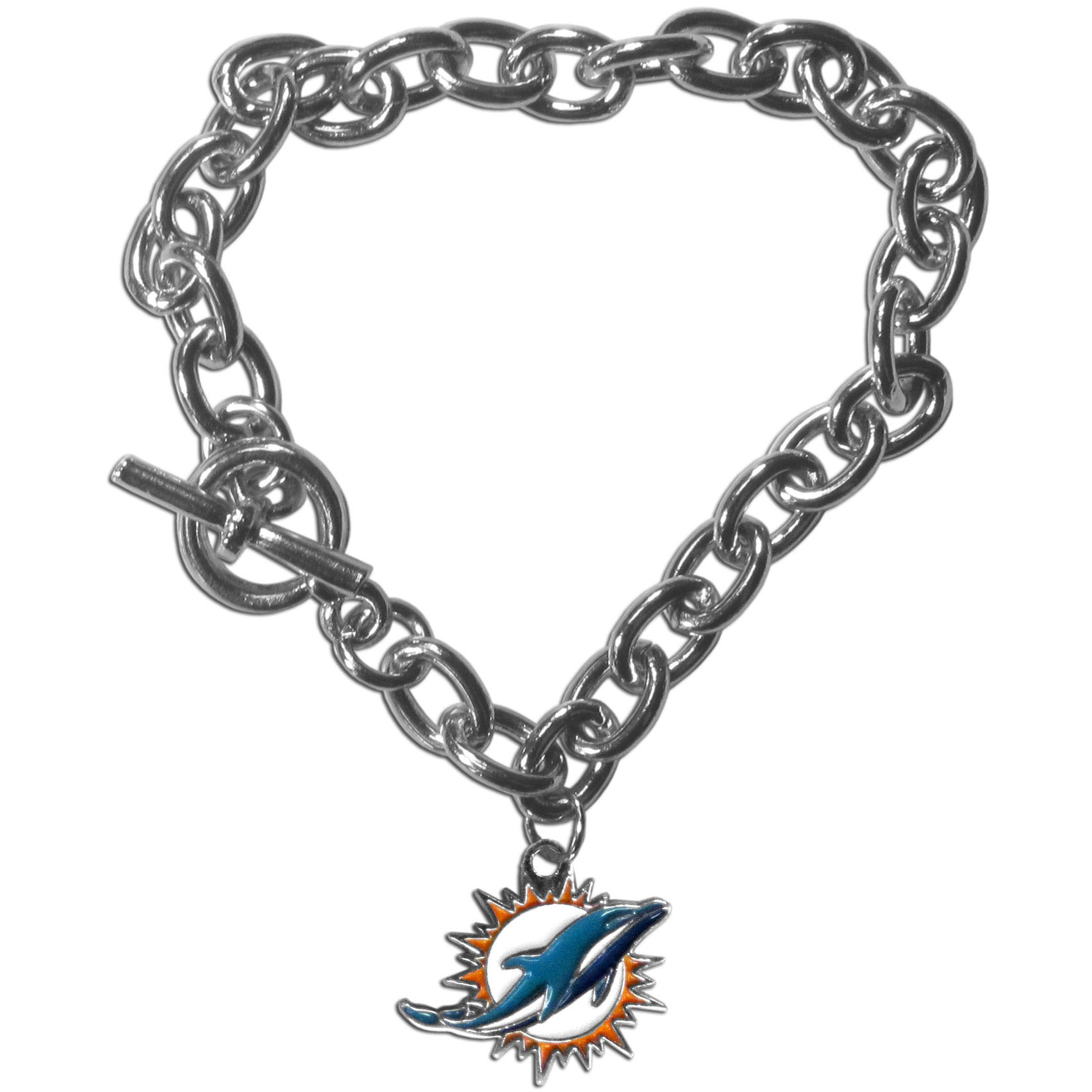 Miami Dolphins Charm Chain Bracelet - Our classic single charm bracelet is a great way to show off your team pride! The 7.5 inch large link chain features a high polish Miami Dolphins charm and features a toggle clasp which makes it super easy to take on and off.