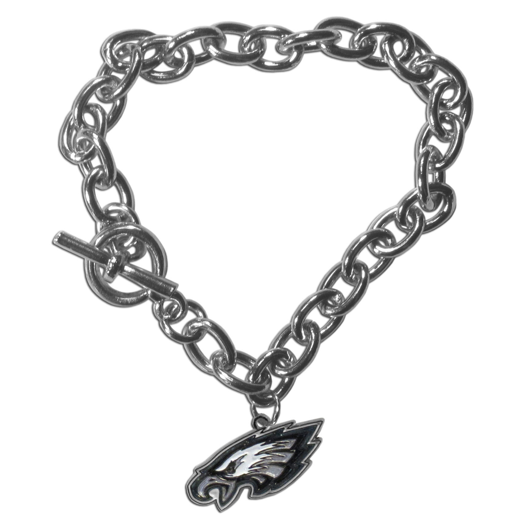 Philadelphia Eagles Charm Chain Bracelet - Our classic single charm bracelet is a great way to show off your team pride! The 7.5 inch large link chain features a high polish Philadelphia Eagles charm and features a toggle clasp which makes it super easy to take on and off.