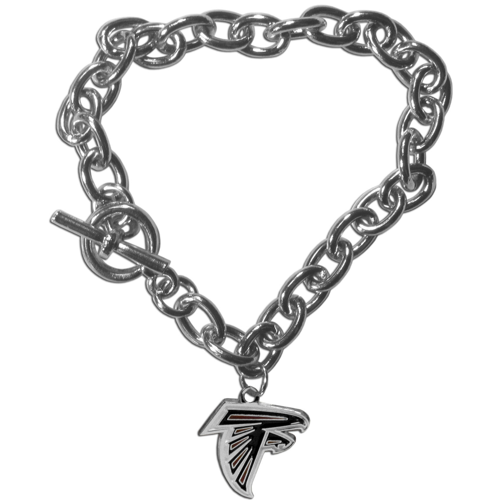 Atlanta Falcons Charm Chain Bracelet - Our classic single charm bracelet is a great way to show off your team pride! The 7.5 inch large link chain features a high polish Atlanta Falcons charm and features a toggle clasp which makes it super easy to take on and off.