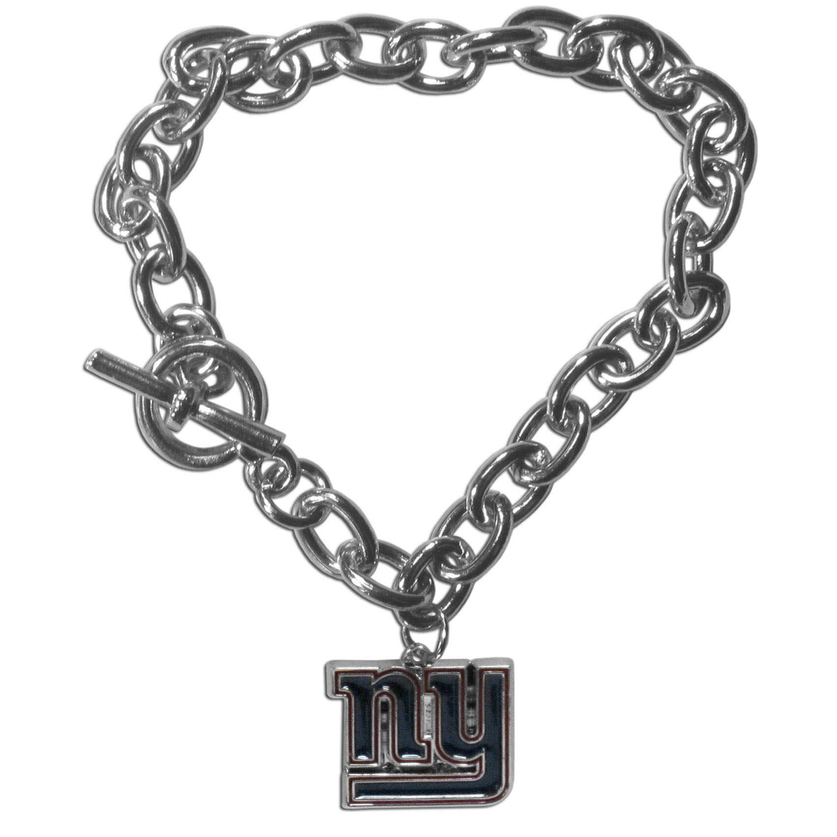 New York Giants Charm Chain Bracelet - Our classic single charm bracelet is a great way to show off your team pride! The 7.5 inch large link chain features a high polish New York Giants charm and features a toggle clasp which makes it super easy to take on and off.