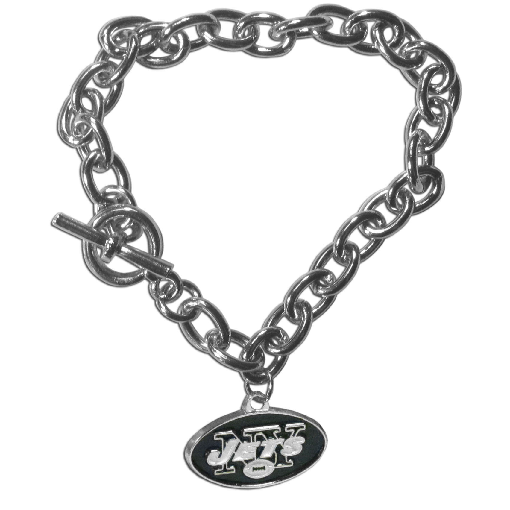 New York Jets Charm Chain Bracelet - Our classic single charm bracelet is a great way to show off your team pride! The 7.5 inch large link chain features a high polish New York Jets charm and features a toggle clasp which makes it super easy to take on and off.