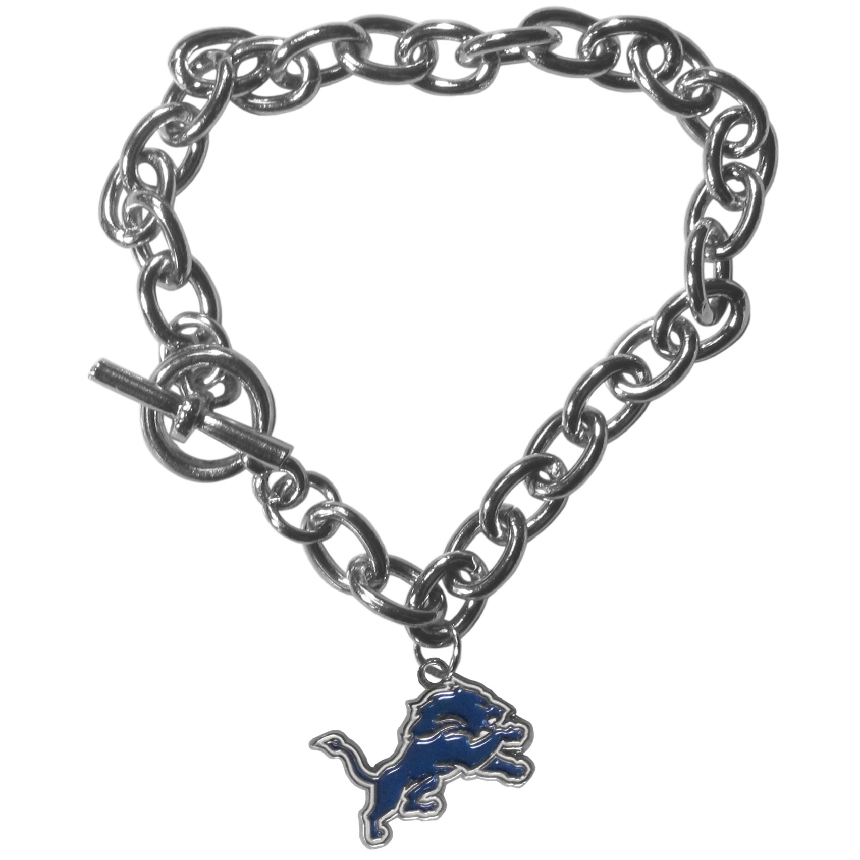Detroit Lions Charm Chain Bracelet - Our classic single charm bracelet is a great way to show off your team pride! The 7.5 inch large link chain features a high polish Detroit Lions charm and features a toggle clasp which makes it super easy to take on and off.