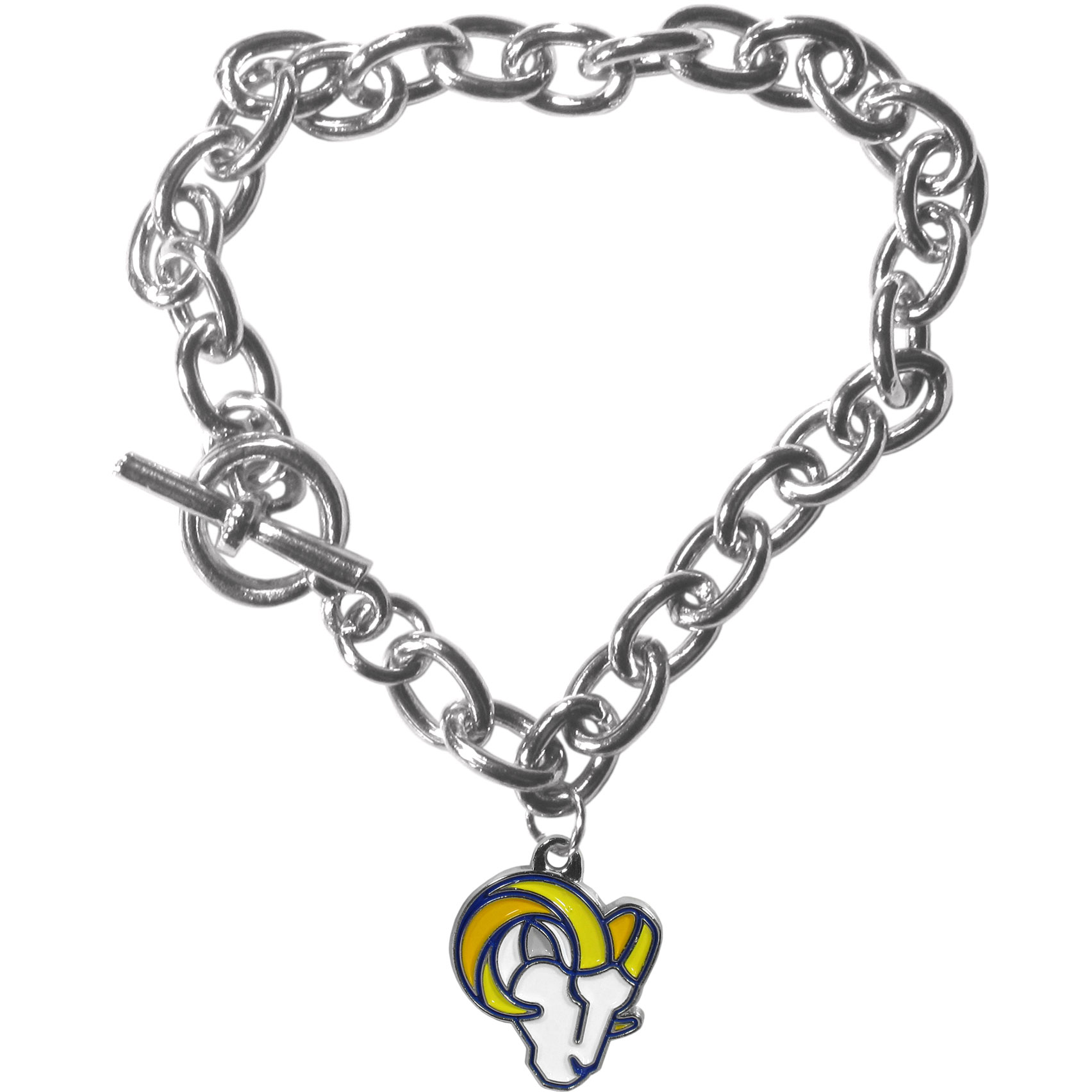 St. Louis Rams Charm Chain Bracelet - Our classic single charm bracelet is a great way to show off your team pride! The 7.5 inch large link chain features a high polish St. Louis Rams charm and features a toggle clasp which makes it super easy to take on and off.