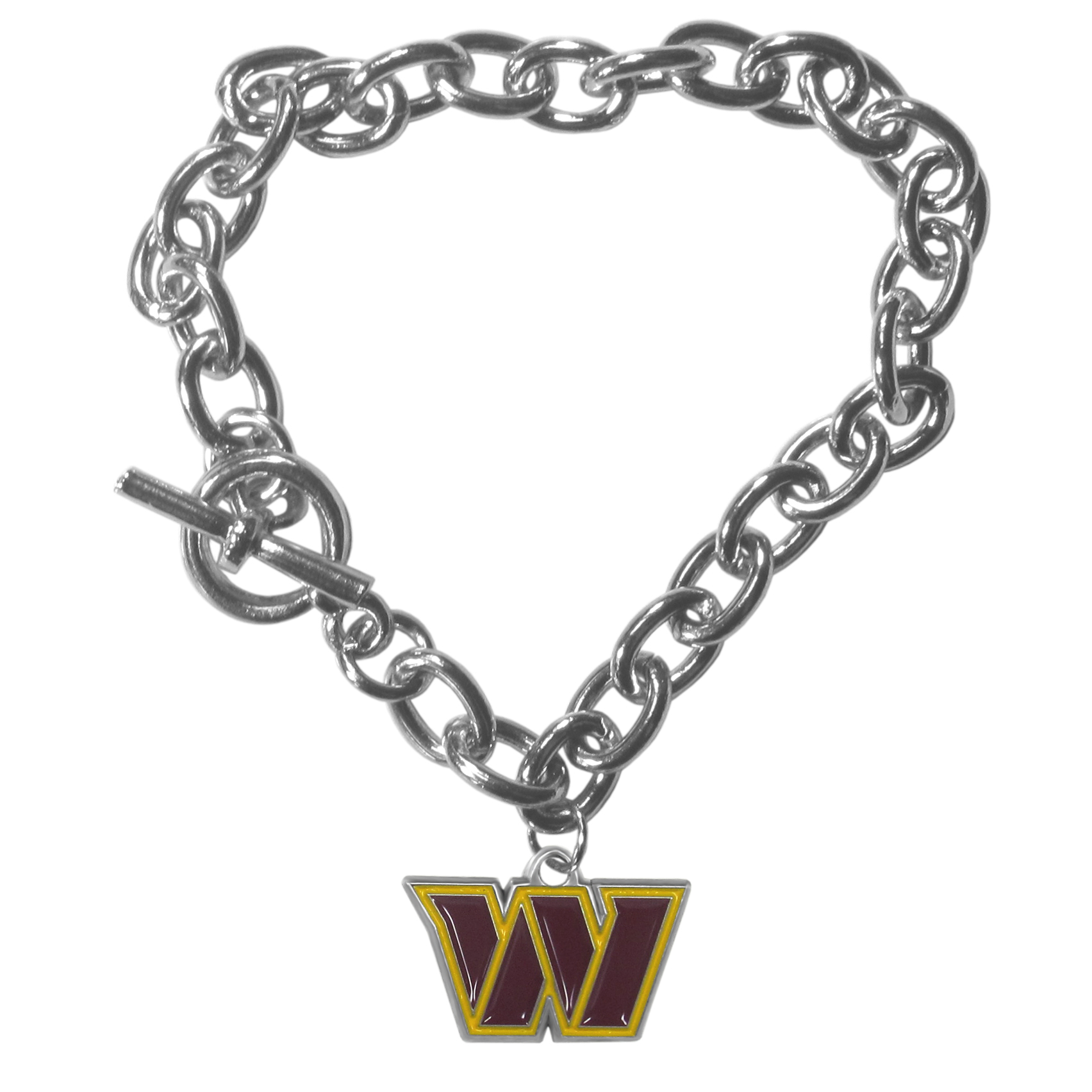 Washington Redskins Charm Chain Bracelet - Our classic single charm bracelet is a great way to show off your team pride! The 7.5 inch large link chain features a high polish Washington Redskins charm and features a toggle clasp which makes it super easy to take on and off.