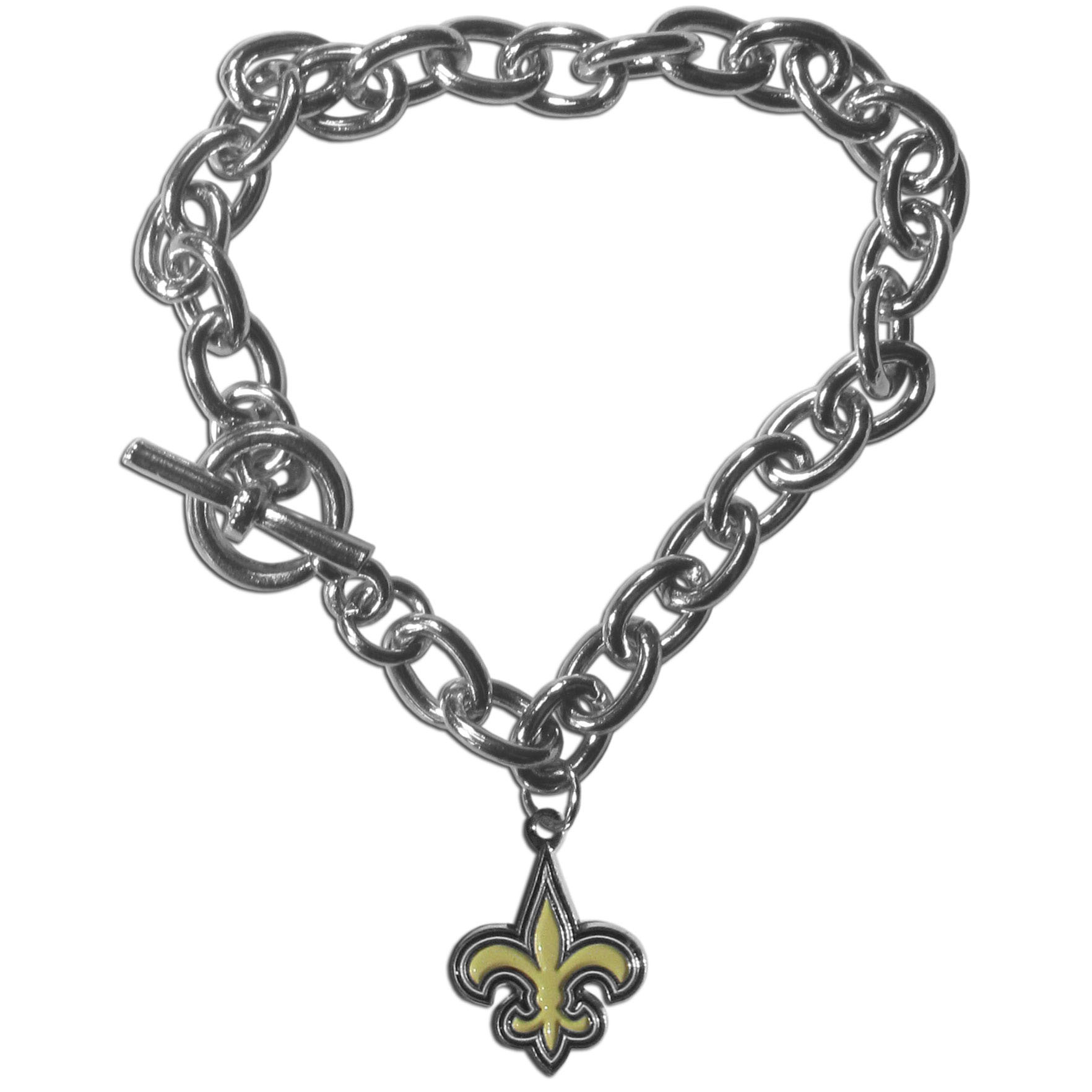 New Orleans Saints Charm Chain Bracelet - Our classic single charm bracelet is a great way to show off your team pride! The 7.5 inch large link chain features a high polish New Orleans Saints charm and features a toggle clasp which makes it super easy to take on and off.