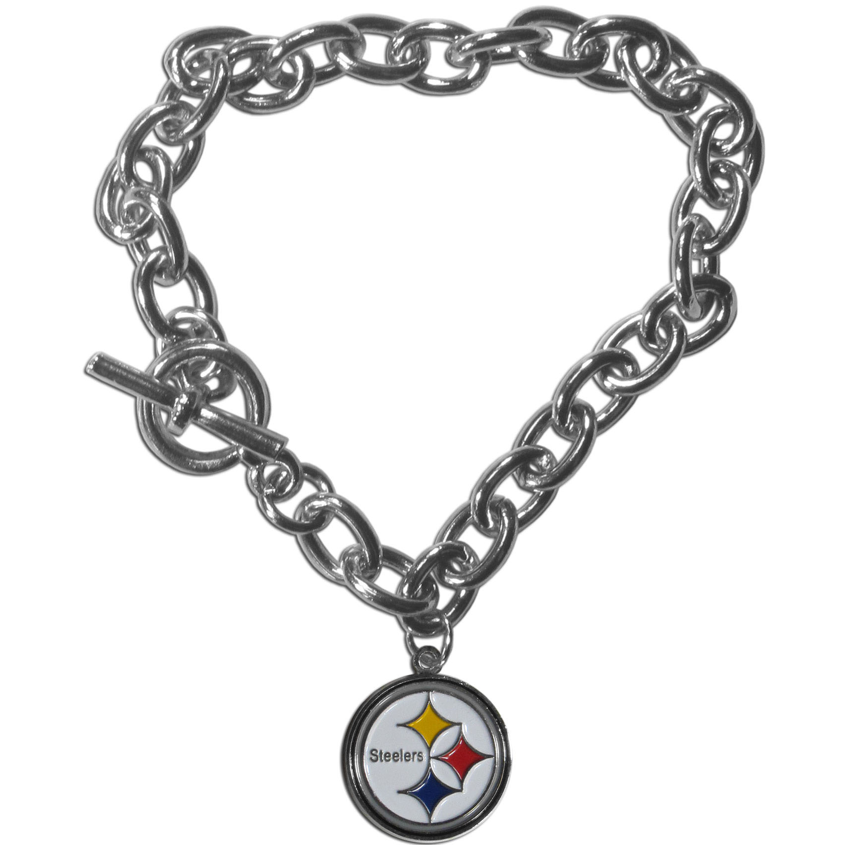 Pittsburgh Steelers Charm Chain Bracelet - Our classic single charm bracelet is a great way to show off your team pride! The 7.5 inch large link chain features a high polish Pittsburgh Steelers charm and features a toggle clasp which makes it super easy to take on and off.