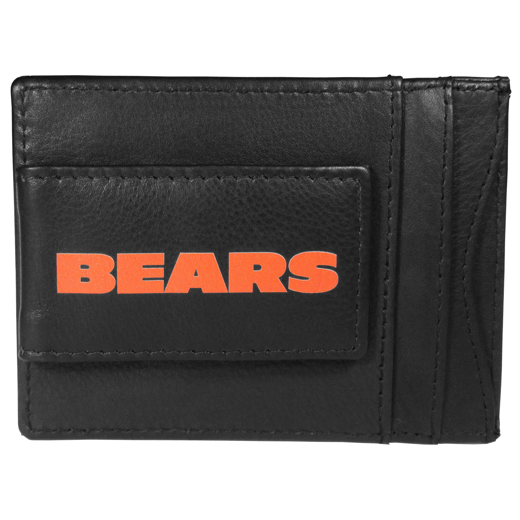 Chicago Bears Logo Leather Cash and Cardholder - This super slim leather wallet lets you have all the benefits of a money clip while keeping the organization of a wallet. On one side of this front pocket wallet there is a strong, magnetic money clip to keep your cash easily accessible and the?Chicago Bears team logo on the front. The versatile men's accessory is a perfect addition to your fan apparel.