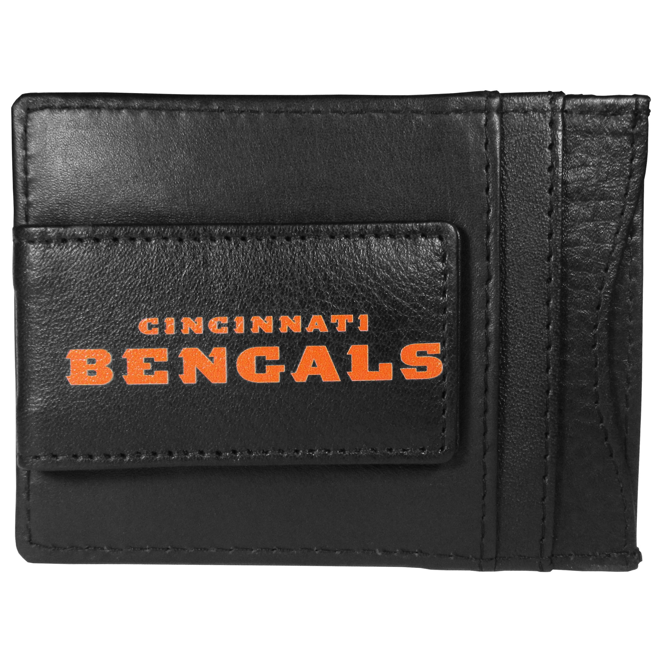 Cincinnati Bengals Logo Leather Cash and Cardholder - This super slim leather wallet lets you have all the benefits of a money clip while keeping the organization of a wallet. On one side of this front pocket wallet there is a strong, magnetic money clip to keep your cash easily accessible and the?Cincinnati Bengals team logo on the front. The versatile men's accessory is a perfect addition to your fan apparel.