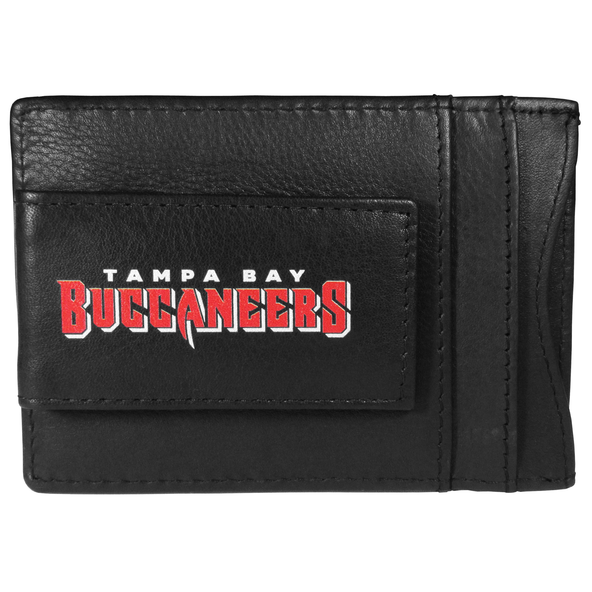 Tampa Bay Buccaneers Logo Leather Cash and Cardholder - This super slim leather wallet lets you have all the benefits of a money clip while keeping the organization of a wallet. On one side of this front pocket wallet there is a strong, magnetic money clip to keep your cash easily accessible and the?Tampa Bay Buccaneers team logo on the front. The versatile men's accessory is a perfect addition to your fan apparel.