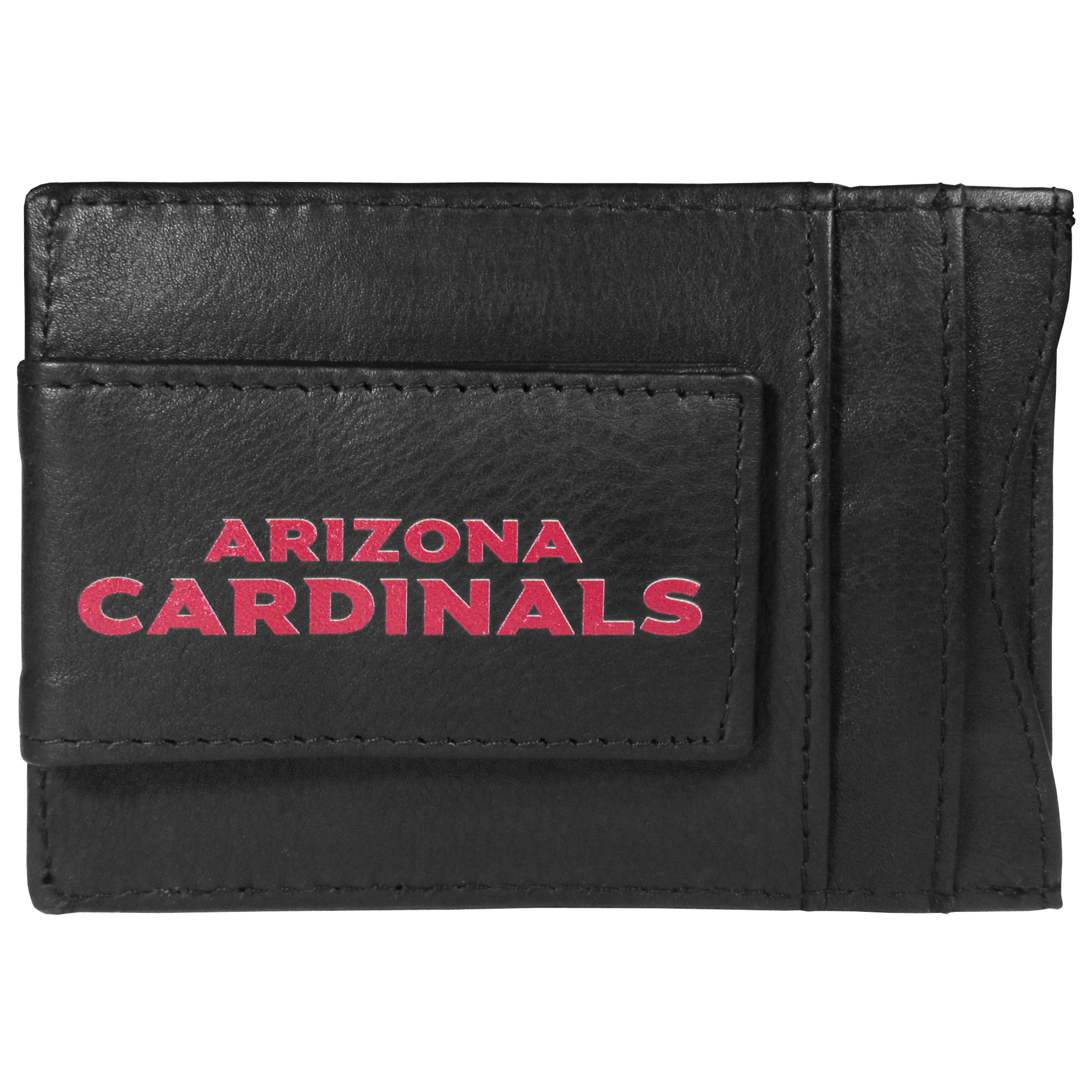Arizona Cardinals Logo Leather Cash and Cardholder - This super slim leather wallet lets you have all the benefits of a money clip while keeping the organization of a wallet. On one side of this front pocket wallet there is a strong, magnetic money clip to keep your cash easily accessible and the?Arizona Cardinals team logo on the front. The versatile men's accessory is a perfect addition to your fan apparel.