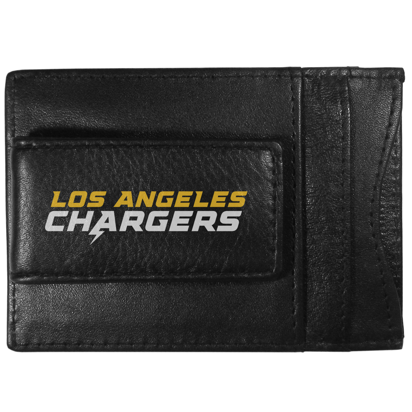 Los Angeles Chargers Logo Leather Cash and Cardholder - This super slim leather wallet lets you have all the benefits of a money clip while keeping the organization of a wallet. On one side of this front pocket wallet there is a strong, magnetic money clip to keep your cash easily accessible and the?Los Angeles Chargers team logo on the front. The versatile men's accessory is a perfect addition to your fan apparel.