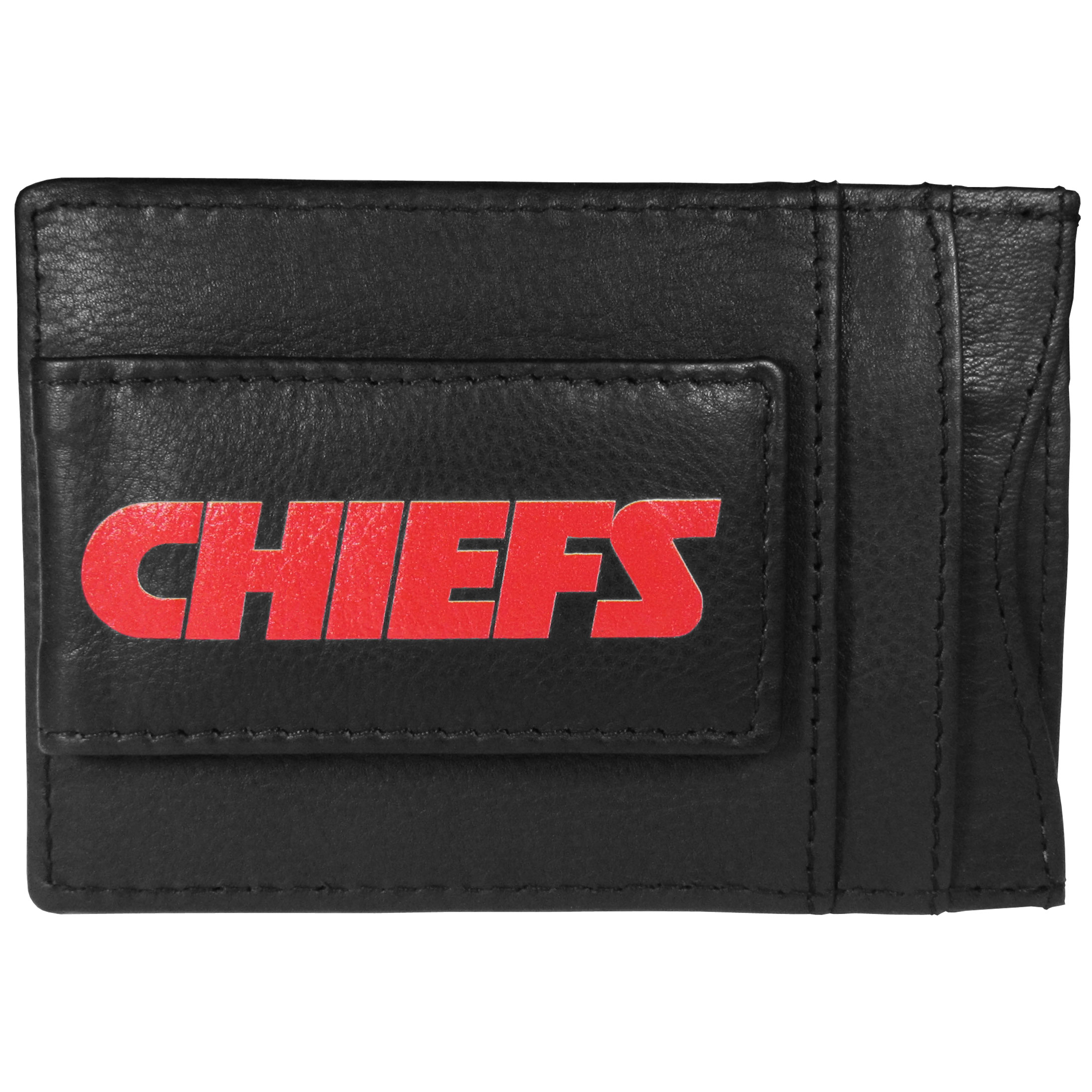 Kansas City Chiefs Logo Leather Cash and Cardholder - This super slim leather wallet lets you have all the benefits of a money clip while keeping the organization of a wallet. On one side of this front pocket wallet there is a strong, magnetic money clip to keep your cash easily accessible and the?Kansas City Chiefs team logo on the front. The versatile men's accessory is a perfect addition to your fan apparel.