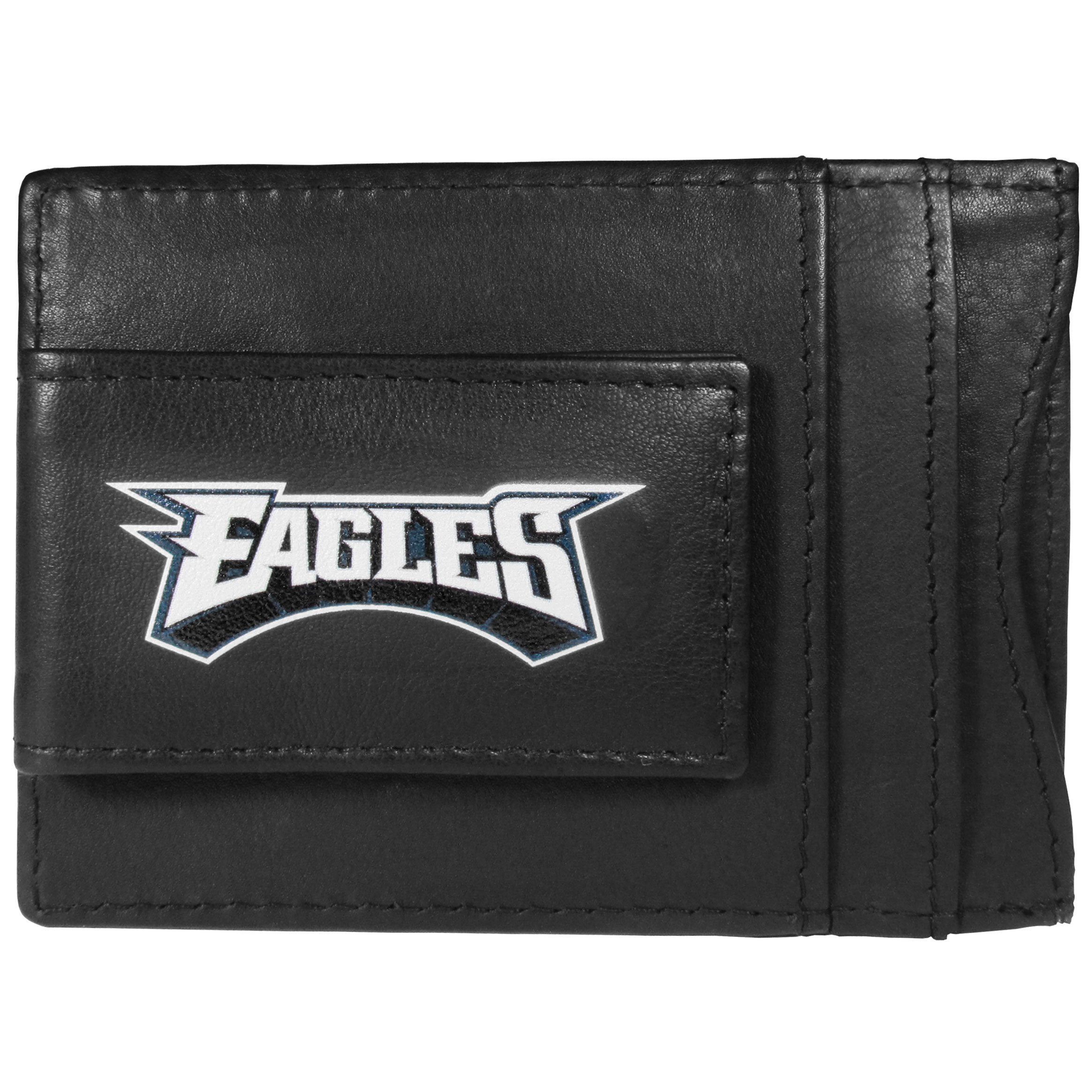 Philadelphia Eagles Logo Leather Cash and Cardholder - This super slim leather wallet lets you have all the benefits of a money clip while keeping the organization of a wallet. On one side of this front pocket wallet there is a strong, magnetic money clip to keep your cash easily accessible and the?Philadelphia Eagles team logo on the front. The versatile men's accessory is a perfect addition to your fan apparel.