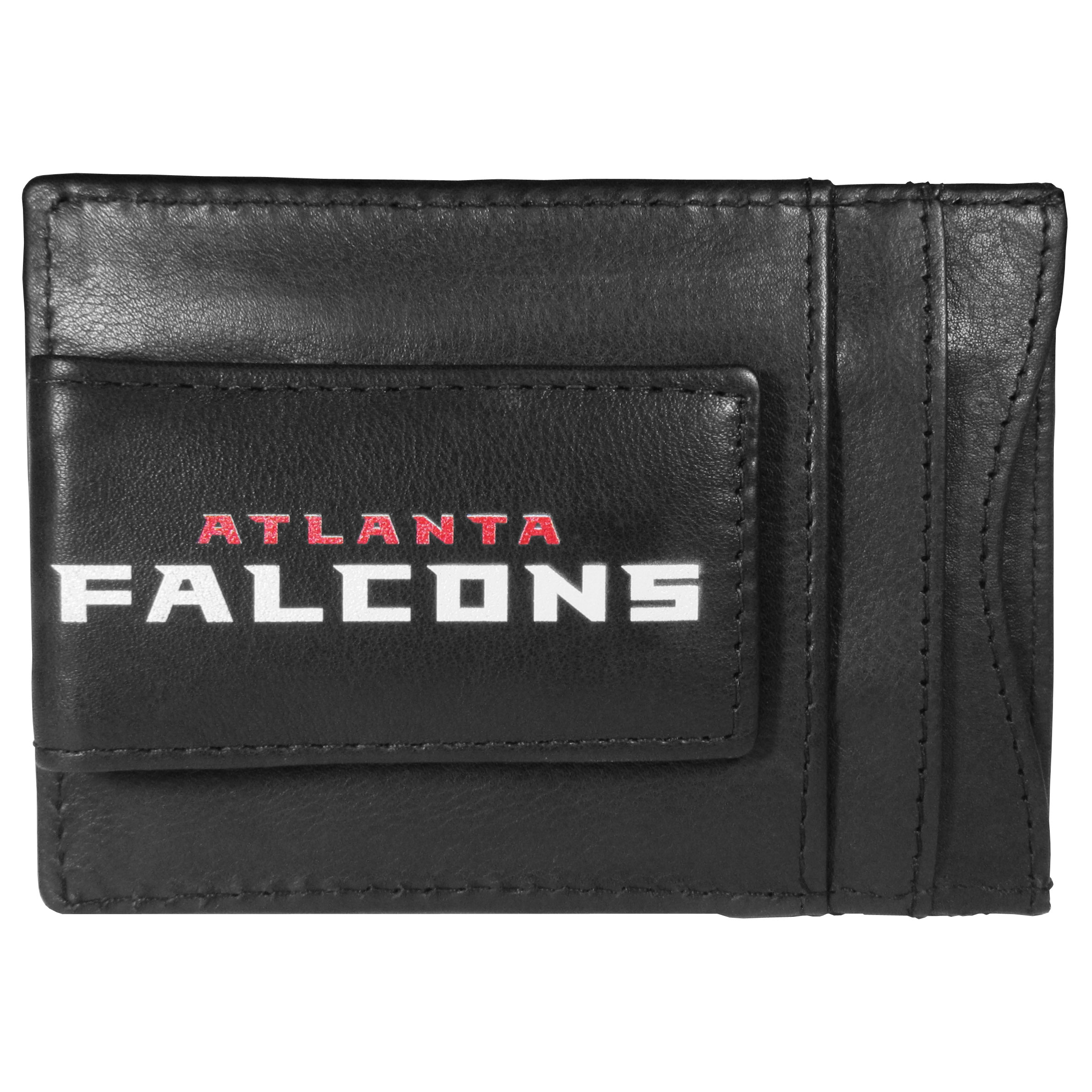 Atlanta Falcons Logo Leather Cash and Cardholder - This super slim leather wallet lets you have all the benefits of a money clip while keeping the organization of a wallet. On one side of this front pocket wallet there is a strong, magnetic money clip to keep your cash easily accessible and the?Atlanta Falcons team logo on the front. The versatile men's accessory is a perfect addition to your fan apparel.