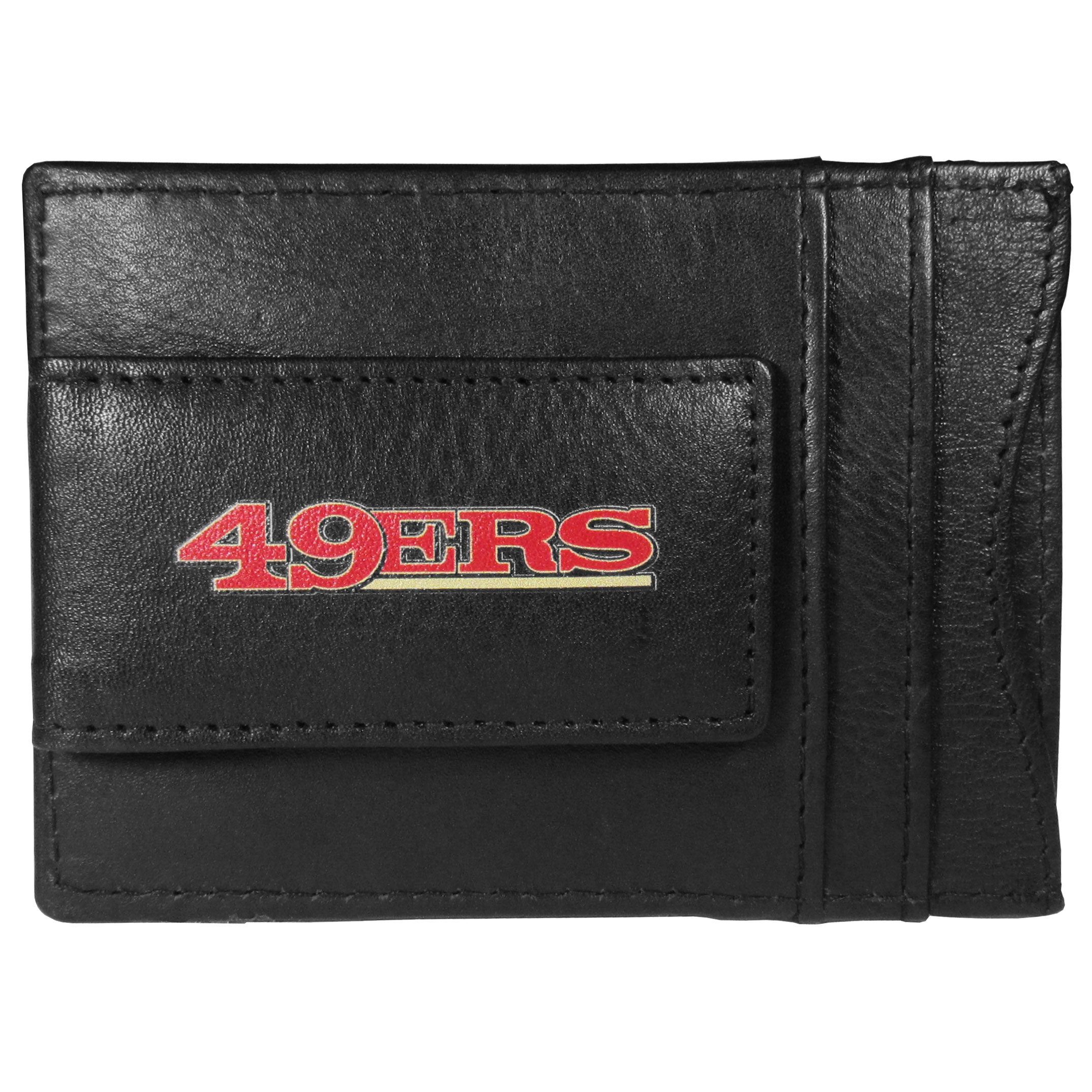 San Francisco 49ers Logo Leather Cash and Cardholder - This super slim leather wallet lets you have all the benefits of a money clip while keeping the organization of a wallet. On one side of this front pocket wallet there is a strong, magnetic money clip to keep your cash easily accessible and the?San Francisco 49ers team logo on the front. The versatile men's accessory is a perfect addition to your fan apparel.