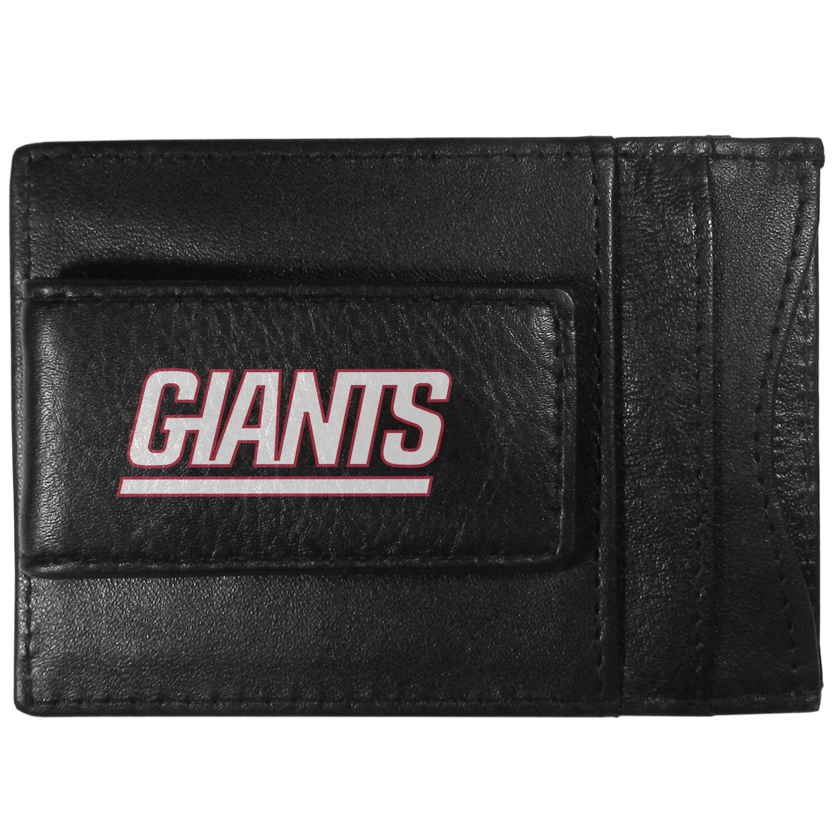 New York Giants Logo Leather Cash and Cardholder - This super slim leather wallet lets you have all the benefits of a money clip while keeping the organization of a wallet. On one side of this front pocket wallet there is a strong, magnetic money clip to keep your cash easily accessible and the?New York Giants team logo on the front. The versatile men's accessory is a perfect addition to your fan apparel.