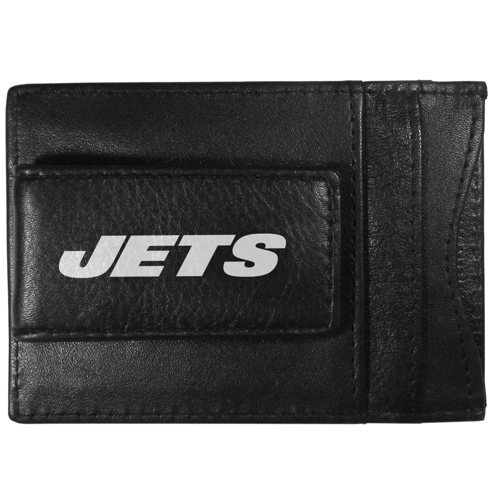 New York Jets Logo Leather Cash and Cardholder - This super slim leather wallet lets you have all the benefits of a money clip while keeping the organization of a wallet. On one side of this front pocket wallet there is a strong, magnetic money clip to keep your cash easily accessible and the?New York Jets team logo on the front. The versatile men's accessory is a perfect addition to your fan apparel.