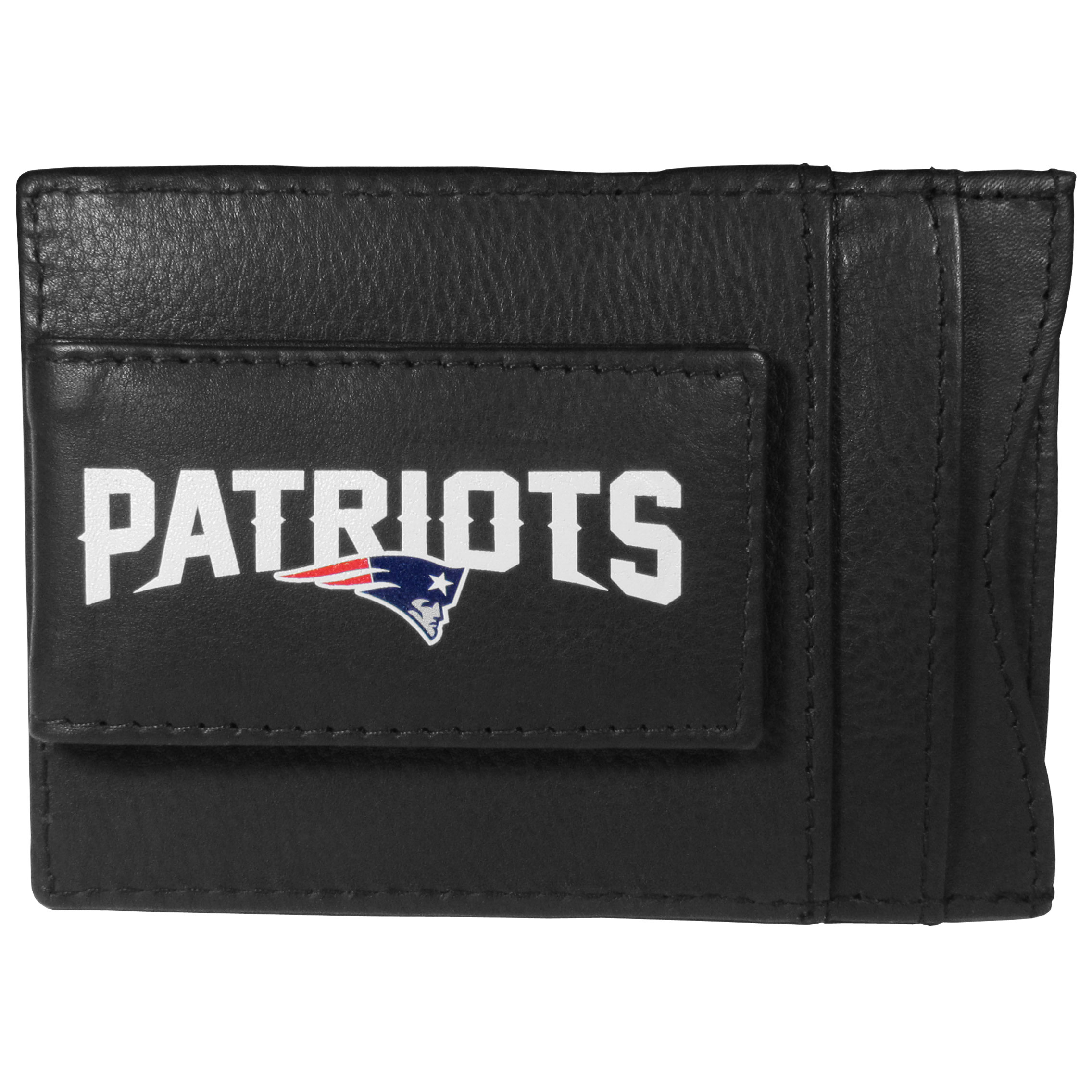 New England Patriots Logo Leather Cash and Cardholder - This super slim leather wallet lets you have all the benefits of a money clip while keeping the organization of a wallet. On one side of this front pocket wallet there is a strong, magnetic money clip to keep your cash easily accessible and the?New England Patriots team logo on the front. The versatile men's accessory is a perfect addition to your fan apparel.