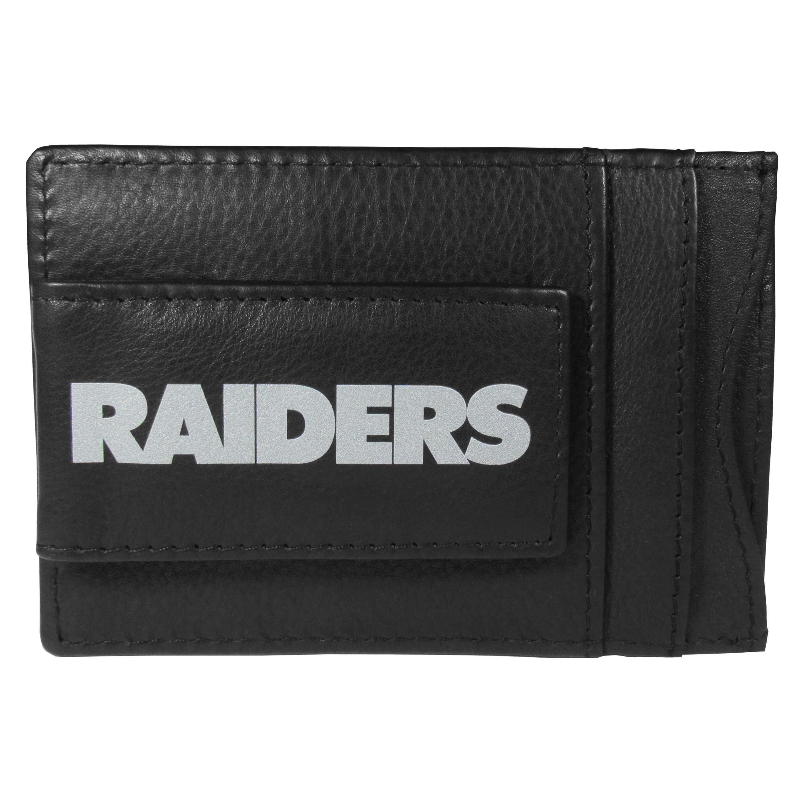 Oakland Raiders Logo Leather Cash and Cardholder - This super slim leather wallet lets you have all the benefits of a money clip while keeping the organization of a wallet. On one side of this front pocket wallet there is a strong, magnetic money clip to keep your cash easily accessible and the?Oakland Raiders team logo on the front. The versatile men's accessory is a perfect addition to your fan apparel.